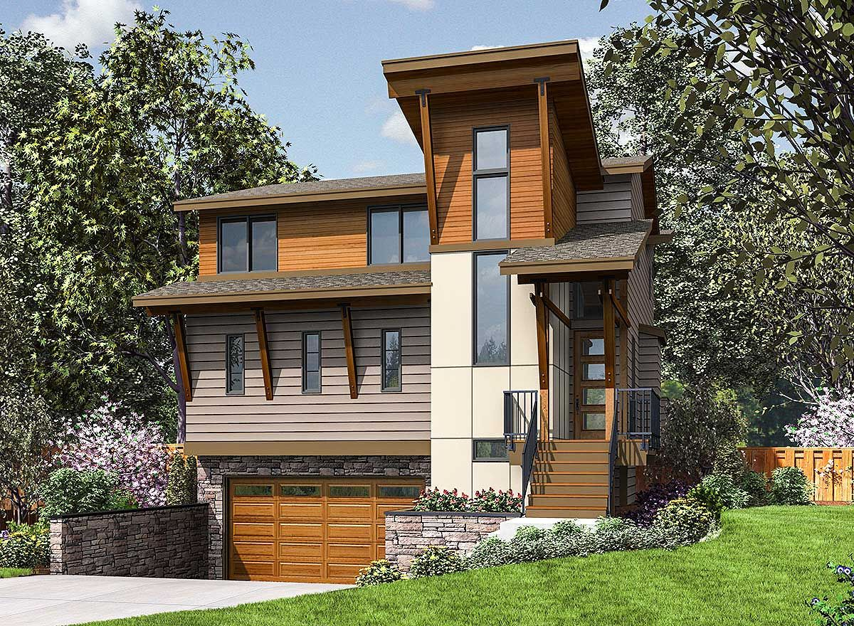 2 Story Narrow Modern House Plan With Garage